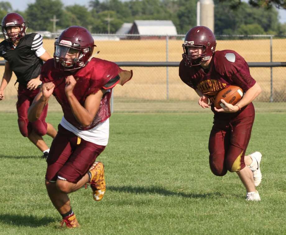 The Deckerville Eagles practice on Friday. Photo: Eric Rutter/Huron Daily Tribune