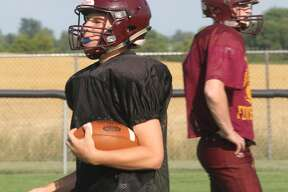 The Deckerville Eagles practice on Friday.