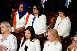 Reps. Ilhan Omar, D-Minn., and Rashida Tlaib, D-Mich., (top left) attend President Donald Trump's State of the Union address in February.