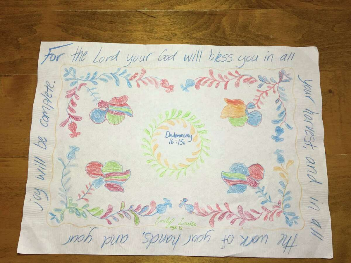 A placemat created for the inmates