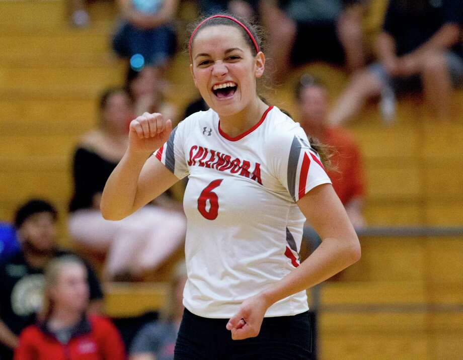 Splendora outside hitter Allie Jones (6) reacts after a point in the second set of a non-district high school volleyball match at Caney Creek High School on Friday. Photo: Jason Fochtman, Houston Chronicle / Staff Photographer / Houston Chronicle