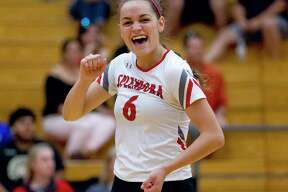 Splendora outside hitter Allie Jones (6) reacts after a point in the second set of a non-district high school volleyball match at Caney Creek High School on Friday.