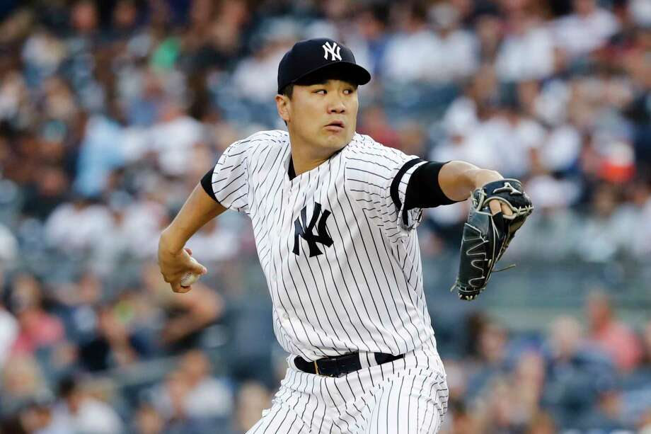 New York Yankees' Masahiro Tanaka, of Japan, delivers a pitch during the first inning of a baseball game against the Cleveland Indians, Friday, Aug. 16, 2019, in New York. (AP Photo/Frank Franklin II) Photo: Frank Franklin II / Copyright 2019 The Associated Press. All rights reserved.