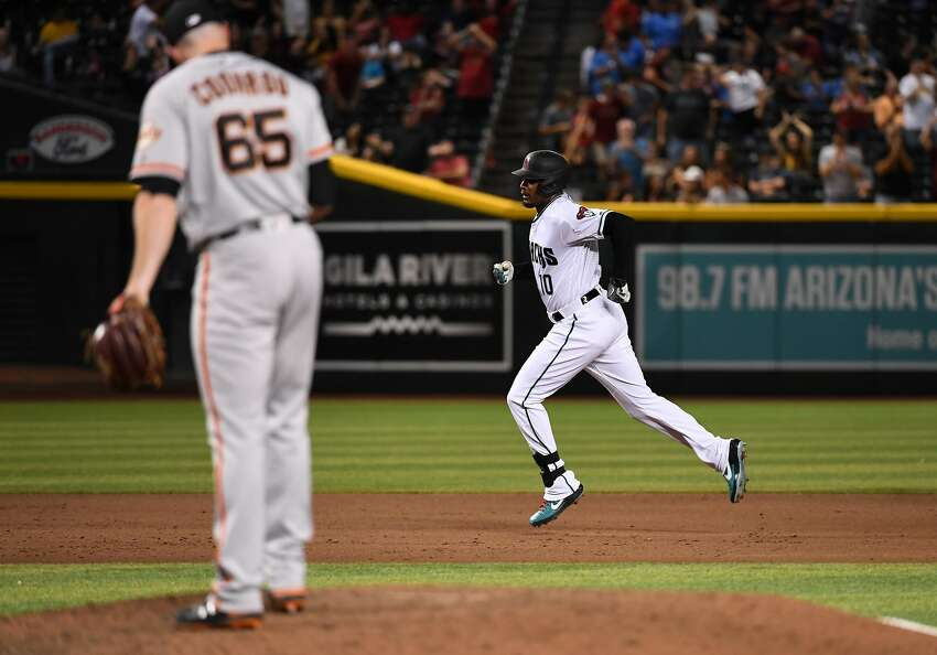 Adam Jones #10 of the Arizona Diamondbacks rounds the bases after hitting a game tying three run home run off of Sam Coonrod #65 of the San Francisco Giants during the eighth inning at Chase Field on August 16, 2019 in Phoenix, Arizona. (Photo by Norm Hall/Getty Images)