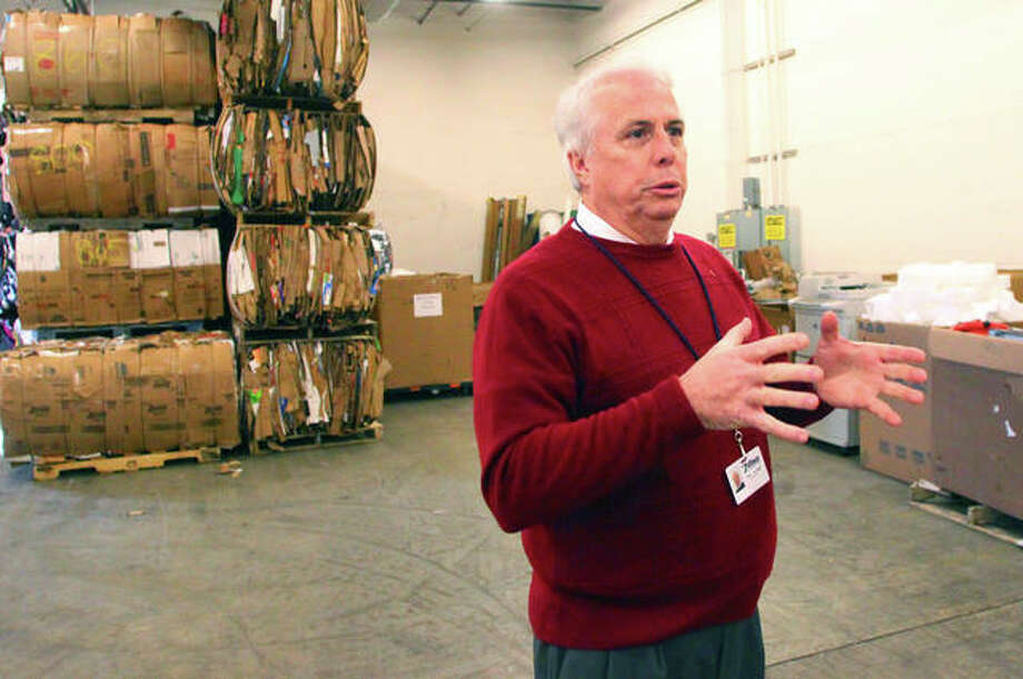 Former Executive Director Steve Brundage speaks about the Pathway Services Unlimited recycling program in March. Pathway Services ended its recycling pickup program earlier this year. Photo: Rosalind Essig | Journal-Courier, File