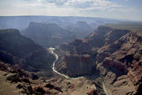 The confluence of the Little Colorado River (foreground) and the Colorado River is seen in Grand Canyon National Park in Arizona on June 25, 2015.