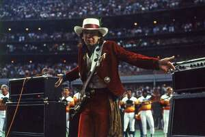 Musician Stevie Ray Vaughan following his performance of the national anthem on his guitar, April 9, 1985, at the 20th anniversary of the Astrodome's grand opening.