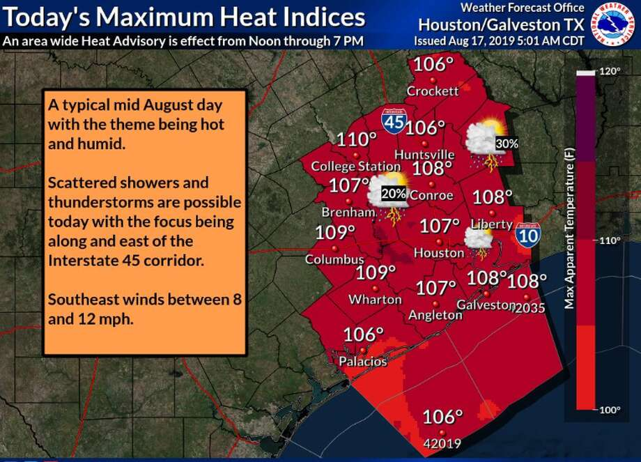The National Weather Service has issued a heat advisory from noon to 7 p.m. Saturday in Houston and surrounding cities and counties, with heat indexes ranging from 106 to 110 degrees. Photo: National Weather Service