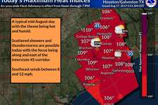 The National Weather Service has issued a heat advisory from noon to 7 p.m. Saturday in Houston and surrounding cities and counties, with heat indexes ranging from 106 to 110 degrees.