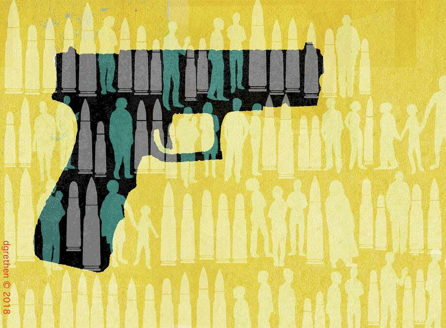 This artwork by Donna Grethen refers to the violent year we've endured at the hands of gunmen. Photo: Donna Grethen / Tribune Content Agency