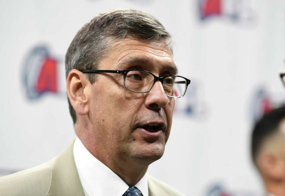 Arena Football League Commissioner Randall Boe speaks during the Arena Football League 2019 award ceremony at the Times Union Center, Saturday, Aug. 10, 2019, in Albany, N.Y. (Hans Pennink / Special to the Times Union)