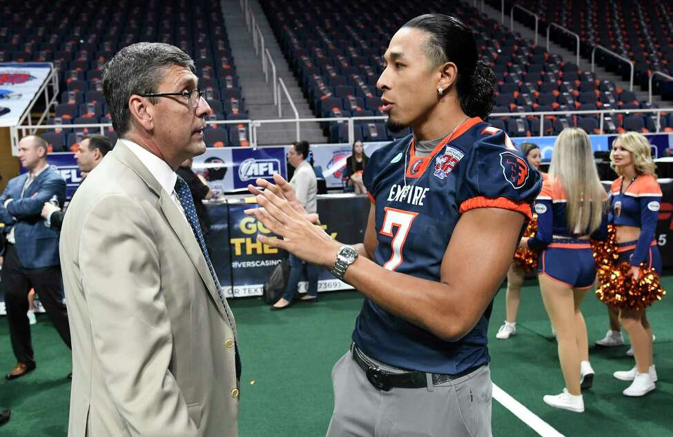 Arena Football League Commissioner Randall Boe ,left, speaks with Albany Empire receiver Malachi Jones during the Arena Football League 2019 award ceremony at the Times Union Center, Saturday, Aug. 10, 2019, in Albany, N.Y. (Hans Pennink / Special to the Times Union)