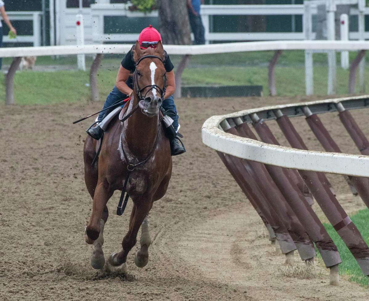 Promises Fulfilled with Tammy Fox aboard, owned by Robert J. Baron and trained by Dale Romans his final breeze before participating in The Forego Stakes at the Saratoga Race Course Saturday Aug. 17, 2019 in Saratoga Springs, N.Y. The Forego will run next Saturday at the Spa. Photo Special to the Times Union by Skip Dickstein