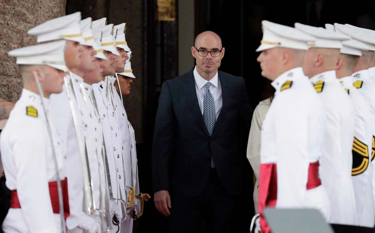 House Speaker Dennis Bonnen, R-Angleton, arrives for the governor's inauguration ceremony, in Austin, Texas, Tuesday, Jan. 15, 2019. (AP Photo/Eric Gay)
