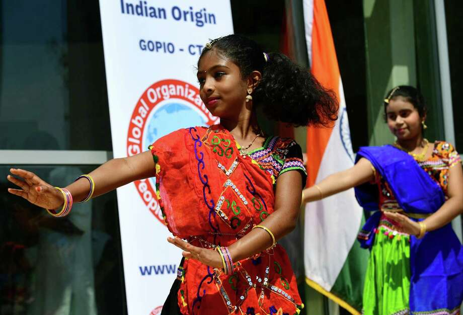 Dancers with the Neha Dance Group perfrom traditional Indian dance during the Kite Festival and Indian Independence Day Celebration Saturday, August 17, 2019, at Mill River Park in Stamford, Conn. The event was sponsored by the Global Organization for People of Indian Origin (GOPIO-CT). Photo: Erik Trautmann / Hearst Connecticut Media / Norwalk Hour