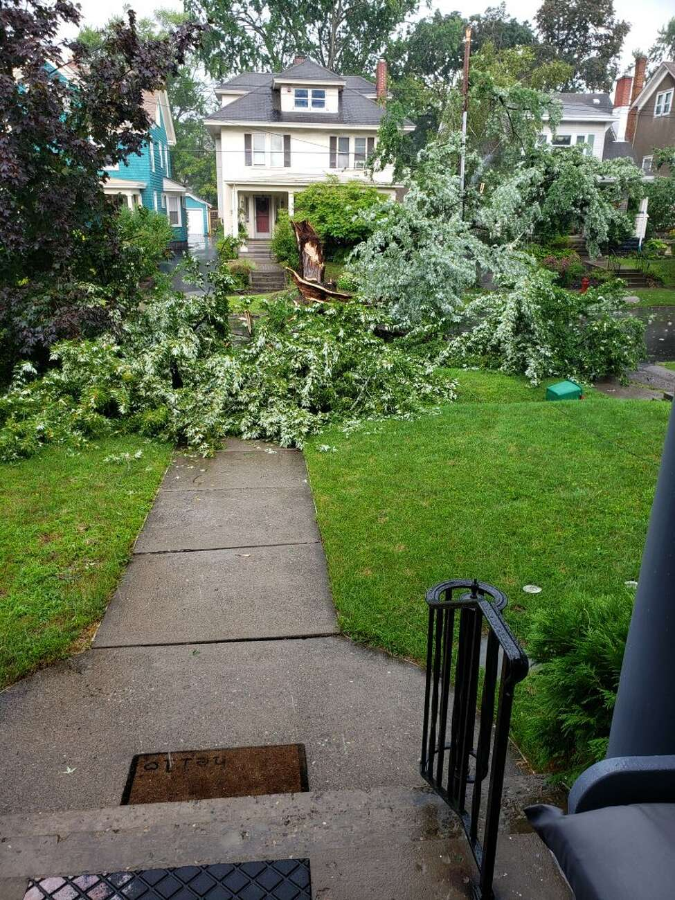 Storm damage along Ardsley Road in Schenectady on Aug. 17, 2019.