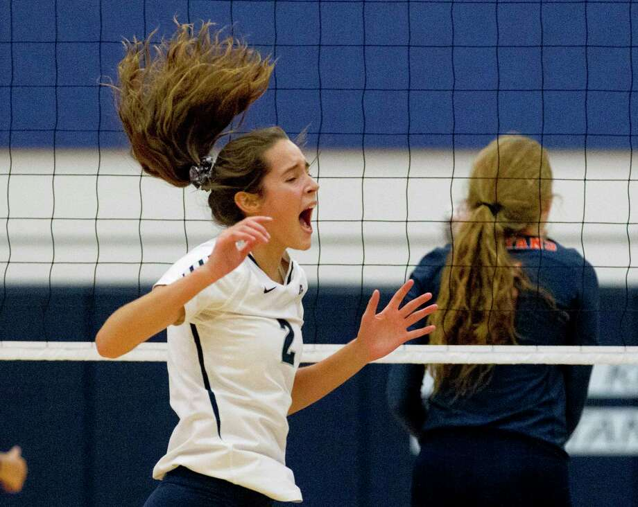 College Park's Noelle Palmer (2) reacts after scoring a point in the first set of a match during the Kingwood Invitational volleyball tournament at Kingwood High School, Saturday, Aug. 17, 2019, in Kingwood. Photo: Jason Fochtman, Houston Chronicle / Staff Photographer / Houston Chronicle