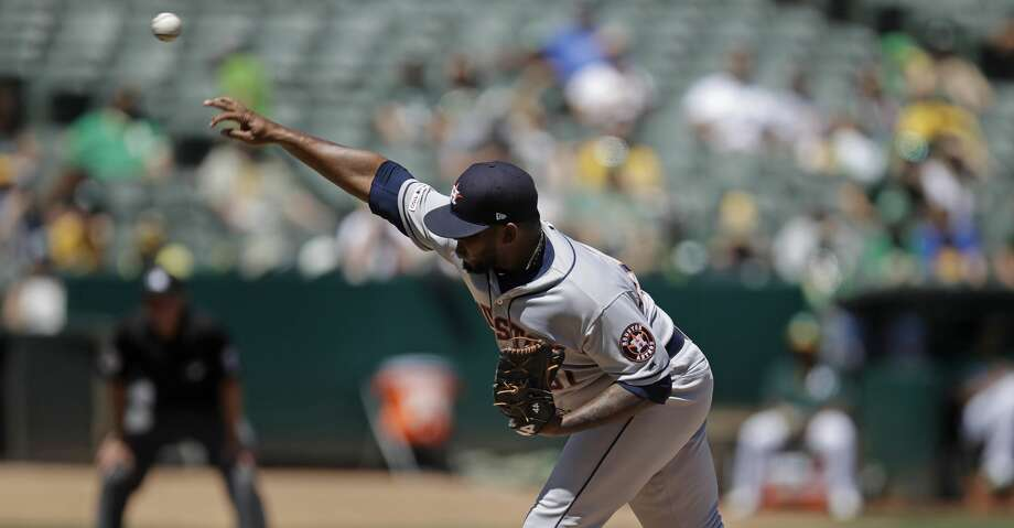 Houston Astros pitcher Rogelio Armenteros works against the Oakland Athletics in the first inning of a baseball game Saturday, Aug. 17, 2019, in Oakland, Calif. (AP Photo/Ben Margot) Photo: Ben Margot/Associated Press
