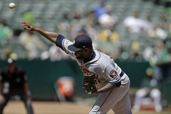 Houston Astros pitcher Rogelio Armenteros works against the Oakland Athletics in the first inning of a baseball game Saturday, Aug. 17, 2019, in Oakland, Calif. (AP Photo/Ben Margot)