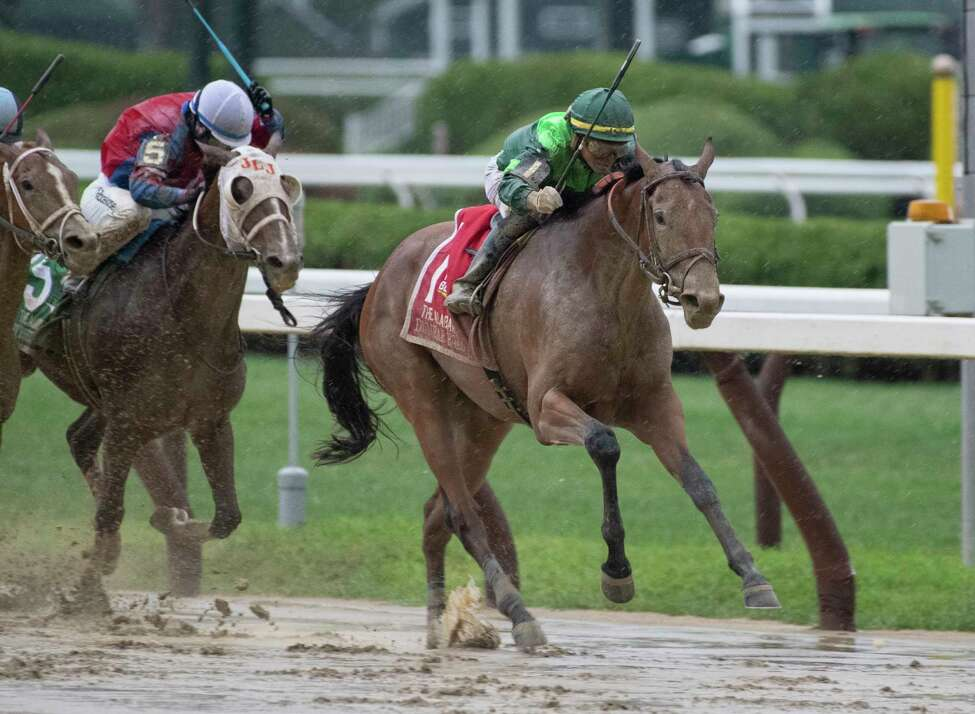 Dunbar Road with jockey Jose Ortiz on the way to winning the 139th running of The Alabama the Saratoga Race Course Saturday Aug. 17, 2019 in Saratoga Springs, N.Y. This was Ortiz?•s third win in The Alabama. Photo Special to the Times Union by Skip Dickstei