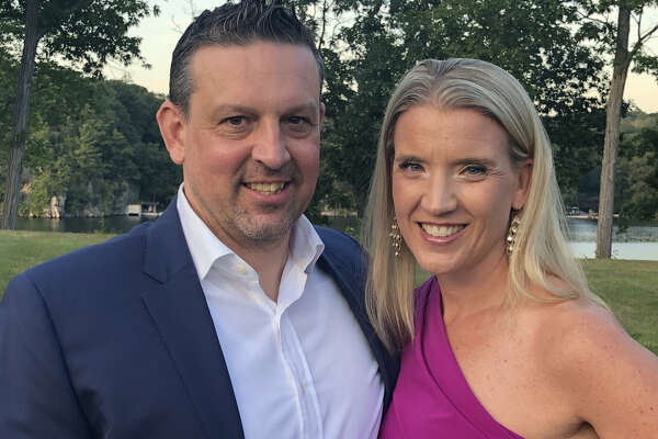 Marc Rybczyk and Siena women's basketball coach Ali Jaques, posing at someone else's wedding on Aug. 15, 2019, will be married in Connecticut on Aug. 24. (Courtesy of Ali Jaques)