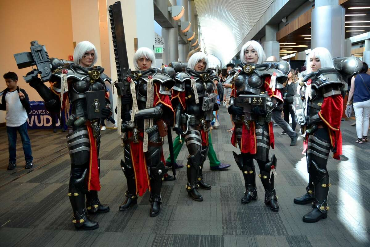 A group of attendees dressed as Sisters of Battle from Warhammer 40k at the Silicon Valley Comic Con in San Jose, California on Saturday, August 17, 2019.