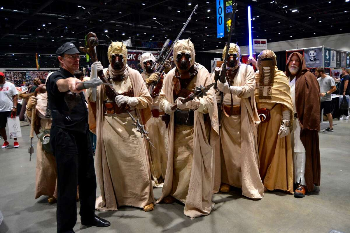 A group of Tuscan Raiders and other Star Wars cosplayers at the Silicon Valley Comic Con in San Jose, California on Saturday, August 17, 2019.