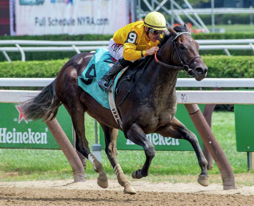 Acre, a half brother to Lea ridden by Junior Alvarado wins the first race on the card at the Saratoga Race Course Saturday Aug. 17, 2019 in Saratoga Springs, N.Y. Photo Special to the Times Union by Skip Dickstein