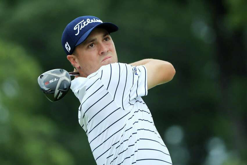 MEDINAH, ILLINOIS - AUGUST 17: Justin Thomas of the United States plays his shot from the 15th tee during the third round of the BMW Championship at Medinah Country Club No. 3 on August 17, 2019 in Medinah, Illinois. (Photo by Sam Greenwood/Getty Images)