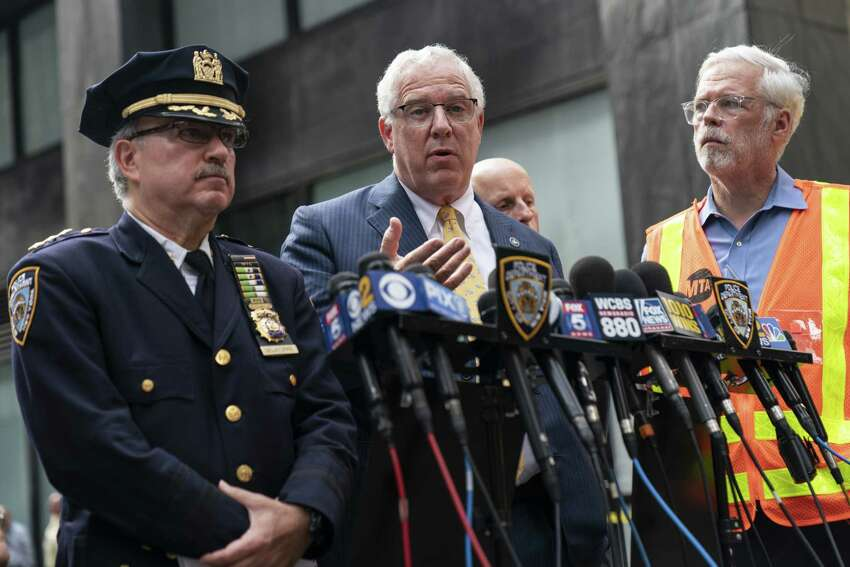 NEW YORK, NY - AUGUST 16: John Miller, Deputy Commissioner of Intelligence and Counterterrorism for the NYPD, speaks to the press near the scene of a suspicious package near the Fulton Street subway station in Lower Manhattan on August 16, 2019 in New York City. The New York City Police Department has given the all-clear after two suspicious devices were found at the Fulton Street subway station in Lower Manhattan and a third in the Chelsea neighborhood on Friday morning. The NYPD says bomb squad officers determined the objects were rice cookers and did not contain explosives. (Photo by Drew Angerer/Getty Images)