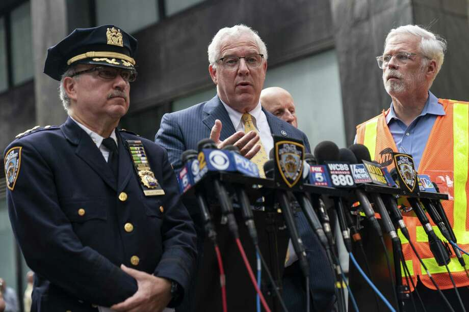 NEW YORK, NY - AUGUST 16:  John Miller, Deputy Commissioner of Intelligence and Counterterrorism for the NYPD, speaks to the press near the scene of a suspicious package near the Fulton Street subway station in Lower Manhattan on August 16, 2019 in New York City. The New York City Police Department has given the all-clear after two suspicious devices were found at the Fulton Street subway station in Lower Manhattan and a third in the Chelsea neighborhood on Friday morning. The NYPD says bomb squad officers determined the objects were rice cookers and did not contain explosives. (Photo by Drew Angerer/Getty Images) Photo: Drew Angerer / 2019 Getty Images