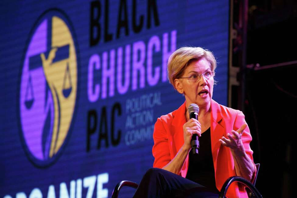 Sen. Elizabeth Warren (D-Mass.) speaks during a forum hosted by the Young Leaders Conference in partnership with The Black Church PAC, at the Georgia International Convention Center in Atlanta, on Aug. 17, 2019. (Dustin Chambers/The New York Times)