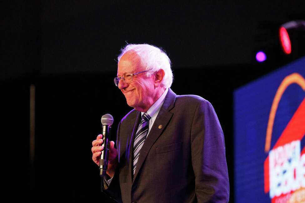 Sen. Bernie Sanders (I-Vt.) addresses attendees during a forum hosted by the Young Leaders Conference in partnership with The Black Church PAC, at the Georgia International Convention Center in Atlanta, on Aug. 17, 2019. (Dustin Chambers/The New York Times)