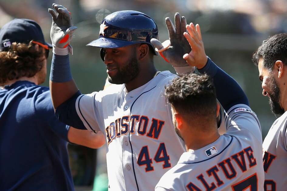 OAKLAND, CALIFORNIA - AUGUST 17: Yordan Alvarez #44 of the Houston Astros celebrates after hitting a solo home run in the top of the eighth inning against the Oakland Athletics at Ring Central Coliseum on August 17, 2019 in Oakland, California. (Photo by Lachlan Cunningham/Getty Images)