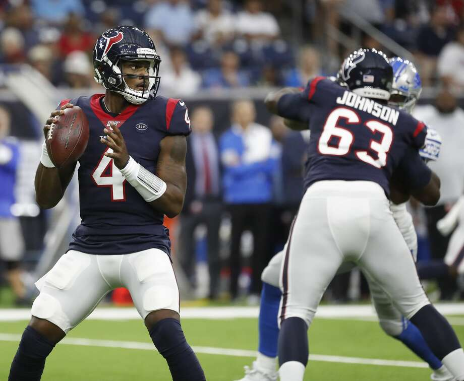 PHOTOS: New concession items at NRG Stadium for 2019 Texans season  Houston Texans quarterback Deshaun Watson (4) looks to pass the ball during the first quarter of an NFL football game at NRG Stadium, Saturday, August 17, 2019. >>>Here's a look at some of the new concession items that will be available at Texans games inside NRG Stadium for the 2019 season ...  Photo: Karen Warren/Staff Photographer