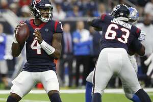 Houston Texans quarterback Deshaun Watson (4) looks to pass the ball during the first quarter of an NFL football game at NRG Stadium, Saturday, August 17, 2019.
