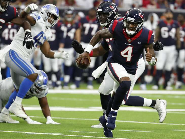 Houston Texans quarterback Deshaun Watson (4) scrambles out of the pocket during an NFL preseason football game against the Detroit Lions at NRG Stadium on Saturday, Aug. 17, 2019, in Houston.