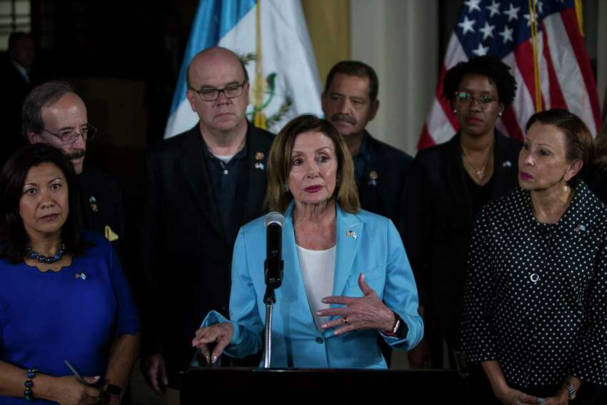 FILE - In this Aug. 8, 2019, file photo, House Speaker Nancy Pelosi gives a news conference at the Air Force Base in Guatemala City. Therea€™s an American leader whose words increasingly resonate abroad, whoa€™s adored in foreign capitals and who sends a message just by her arrival. House Speaker Nancy Pelosi has emerged as an alternative ambassador in the Trump era. (AP Photo/Oliver de Ros, File)
