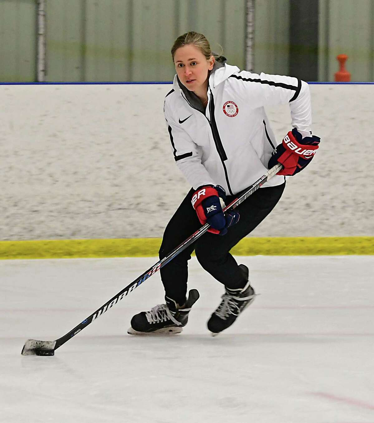Haley Skarupa, a member of the 2018 U.S. gold medal-winning womenA?•s hockey team, hosts a clinic with Clifton Park-based CP Dynamo on Thursday, April 25, 2019 in Clifton Park, N.Y. (Lori Van Buren/Times Union)