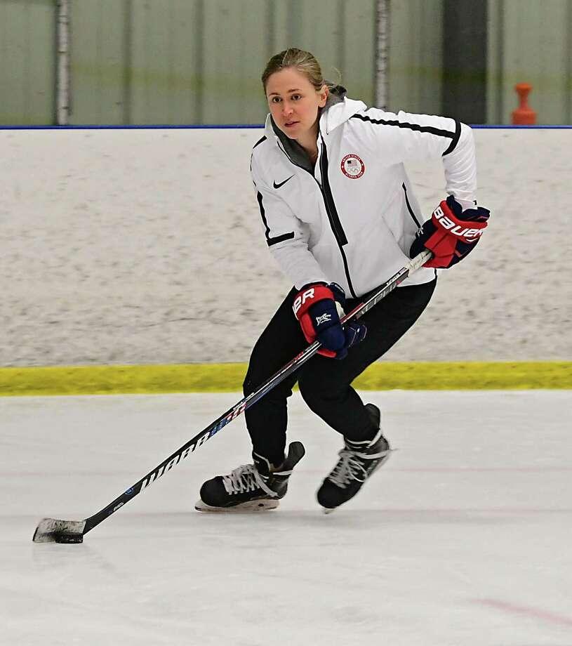 Haley Skarupa, a member of the 2018 U.S. gold medal-winning womenA•s hockey team, hosts a clinic with Clifton Park-based CP Dynamo on Thursday, April 25, 2019 in Clifton Park, N.Y. (Lori Van Buren/Times Union) Photo: Lori Van Buren / 20046766A