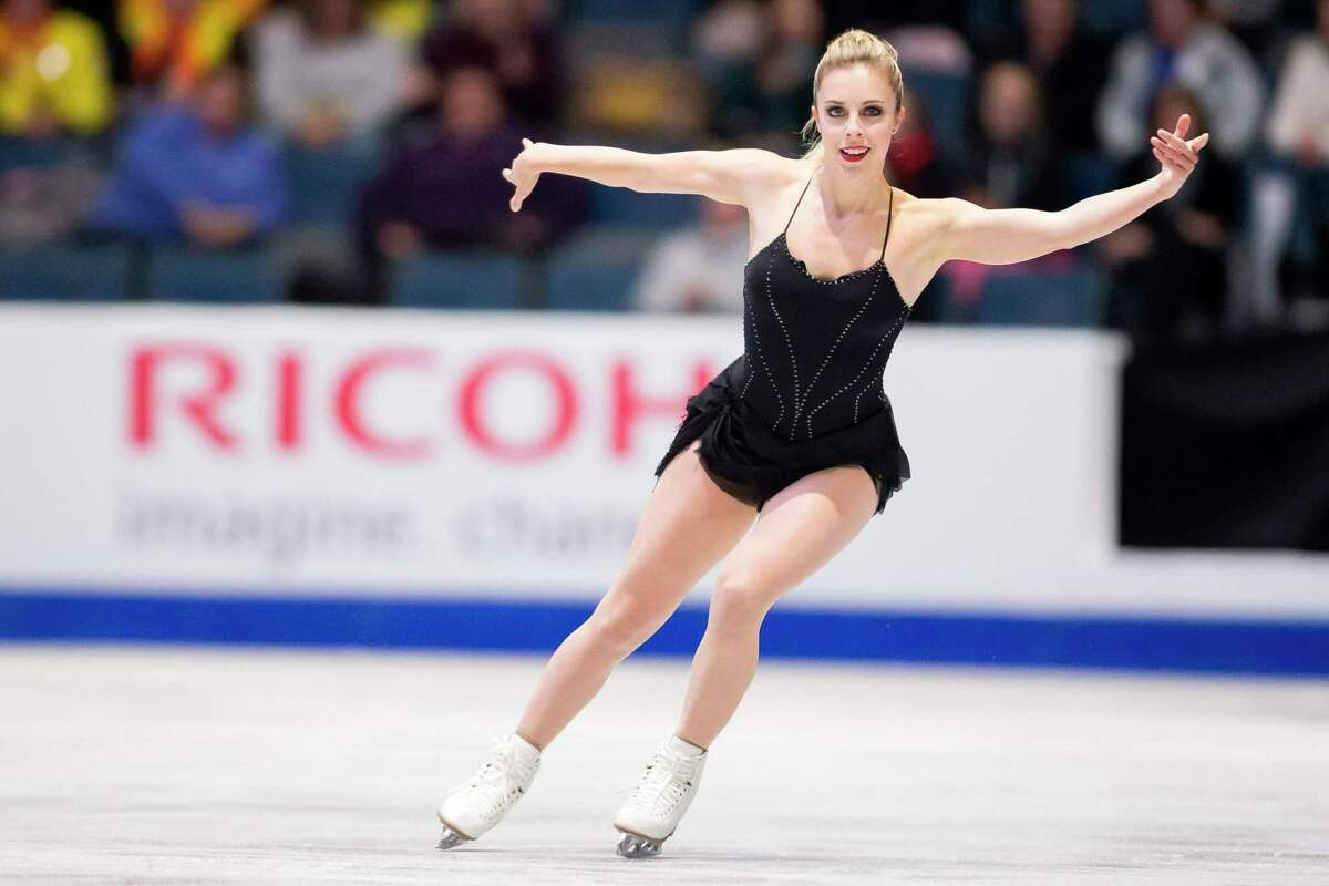 Ashley Wagner of the US skates her short program at the 2017 Skate Canada International ISU Grand Prix event in Regina, Saskatchewan, Canada, on October 27, 2017. / AFP PHOTO / Geoff RobinsGEOFF ROBINS/AFP/Getty Images