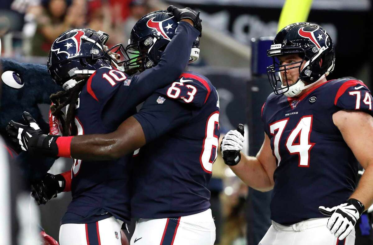 Roderick Johnson (63), a former fifth-round pick, looked sharp at left tackle during the Texans' preseason victory Saturday.