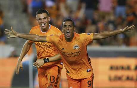 Houston Dynamo forward Mauro Manotas (9) celebrates after scoring the second goal against the Colorado Rapids  during the second half of an MLS match at BBVA Stadium Saturday, Aug. 17, 2019, in Houston. The match ended 2-2.
