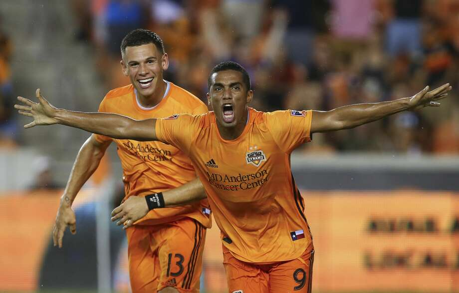 PHOTOS: Dynamo introduce new coach Tab Ramos Houston Dynamo forward Mauro Manotas (9) celebrates after scoring the second goal against the Colorado Rapids during the second half of an MLS match at BBVA Stadium Saturday, Aug. 17, 2019, in Houston. The match ended 2-2. >>>See photos from the introductory news conference of the new Dynamo coach ... Photo: Godofredo A Vásquez