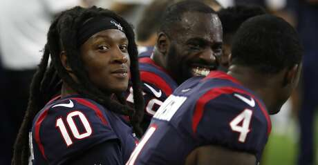 Houston Texans wide receiver DeAndre Hopkins (10) on the bench during the first quarter of an NFL football game at NRG Stadium, Saturday, August 17, 2019.
