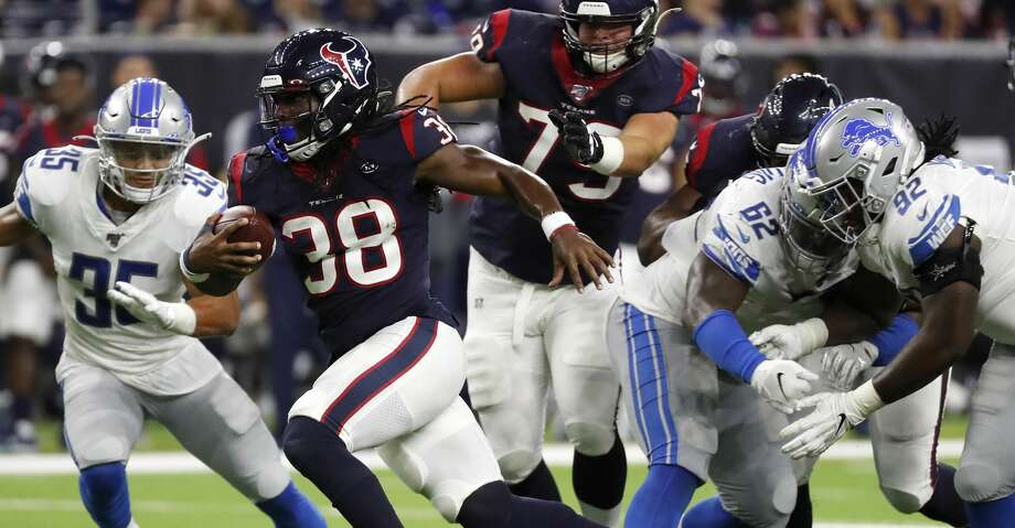 Houston Texans running back Buddy Howell (38) breaks through the Detroit Lions defense on a run during the fourth quarter of an NFL preseason football game at NRG Stadium on Saturday, Aug. 17, 2019, in Houston. Photo: Brett Coomer/Staff Photographer