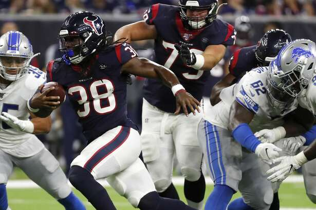 Houston Texans running back Buddy Howell (38) breaks through the Detroit Lions defense on a run during the fourth quarter of an NFL preseason football game at NRG Stadium on Saturday, Aug. 17, 2019, in Houston.