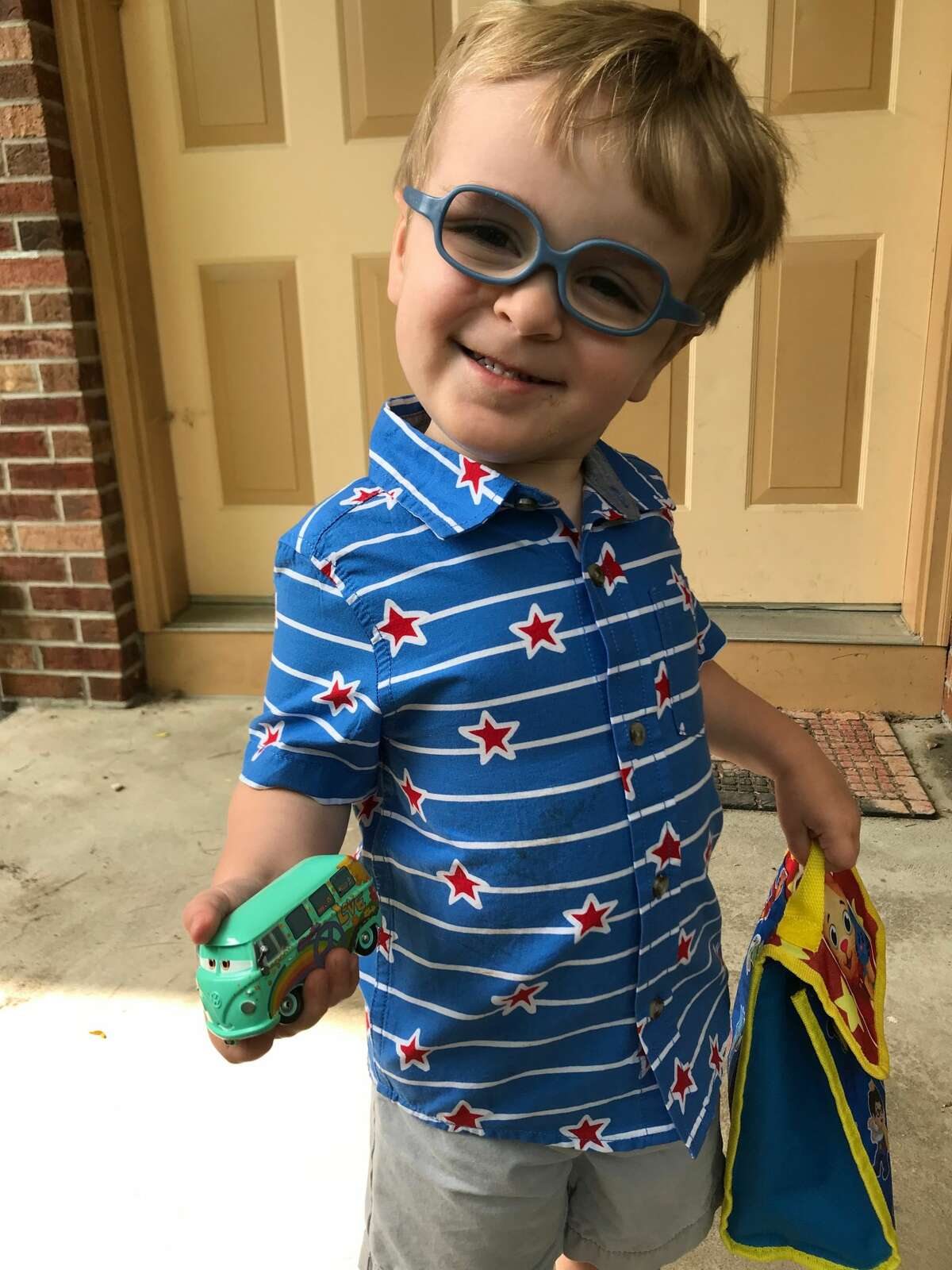 1. Harrison, my adorable two-and-a-half-year-old son, wears prescription glasses.