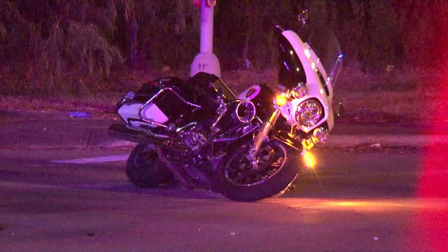 An HPD motorcycle officer was injured Saturday night in a hit-and-run wreck in northeast Houston. Photo: Metro Video Services