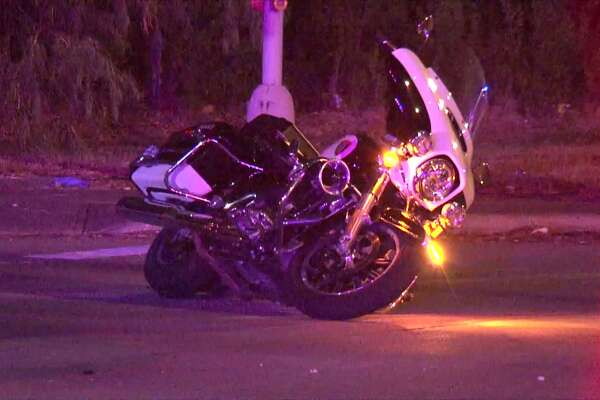 An HPD motorcycle officer was injured Saturday night in a hit-and-run wreck in northeast Houston.